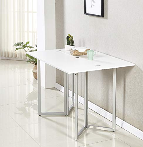 Minimax Decor Multi-Purpose Modern Space Saving Expandable Desk and Dining Table Transforms from a Console Table or Desk to a Large Dining Table. Seats 6 When Fully Extended. White Melamine Finish