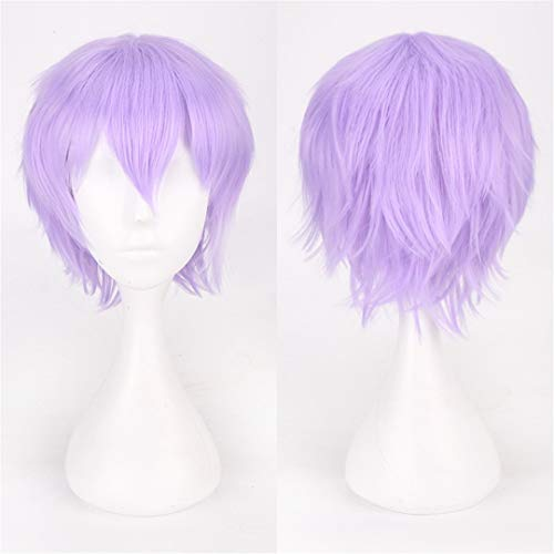 Short Cosplay Wig Men Synthetic Hair White Black Red Blue Purple Brown Pink Blonde Wigs For Halloween Costume Party light purple 10inches