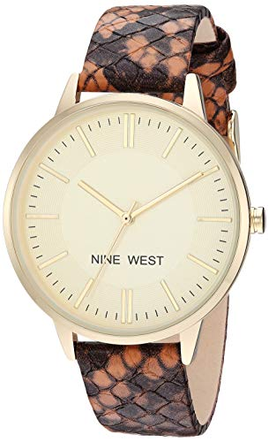 Nine West Women's Gold-Tone and Brown Snake Patterned Strap Watch, NW/2326CHBN (Watch Snake)