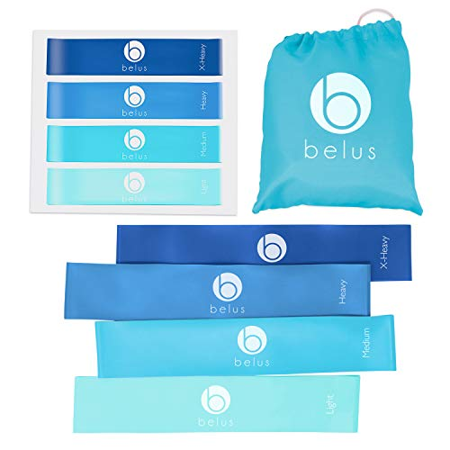 Belus Resistance Bands with Carry Bag, Video Download and eBook. Set of Four Resistance Loop Minibands for Exercise, Rehabilitation and Fitness (Blue)