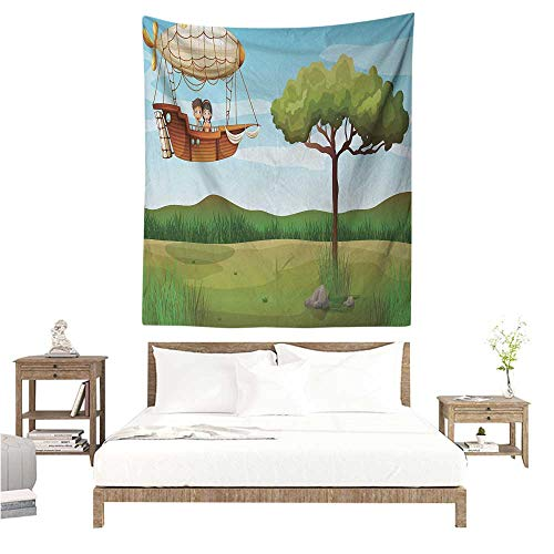 WilliamsDecor Polyester Tapestry Explore Girl and Boy on a Zeppelin Flying on Cartoon Style Forest Fantasy Explorer Children 51W x 60L INCH Suitable for Bedroom Living Room Dormitory