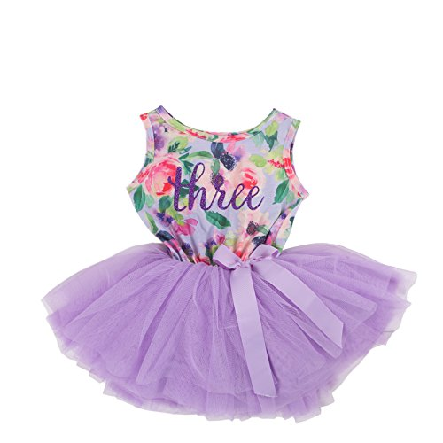 Grace & Lucille Hand Printed Toddler Birthday Dress (3rd Birthday) (Purple Floral Sleeveless, Purple, (Toddler Girl 3rd Birthday Outfits)