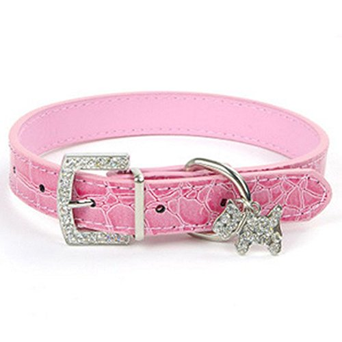 1 Pack Bling Rhinestone Pink PU Leather Necklace Small Dog Puppy Pet Cat Collar Soft Elastic Bow Bell Tag Professional Popular Extra Large Wide Safety Breakaway Training Camo Kitten Dogs Collars]()