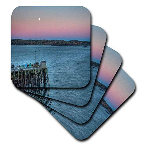 (3dRose Mike Swindle Photography - Landscapes - Moon at Twilight - set of 8 Ceramic Tile Coasters (cst_317157_4))