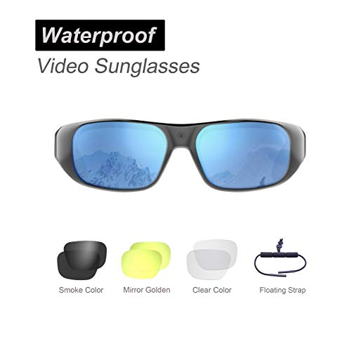 Waterproof Video Sunglasses,64GB Ultra 1080P HD Outdoor Sports Action Camera and 4 Sets Polarized UV400 Protection Safety Lenses,Unisex Sport Design