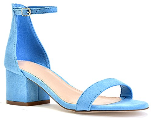 Adorable Strap Low Heel LUSTHAVE Block Kitten Ankle Covered Sandals Heel Suede Blue X56pnpwIAq