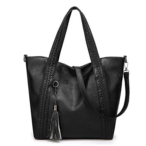 QJAIQQ Women's Handbags Fashion Shoulder Tote Crossbody Tassels,Red Black