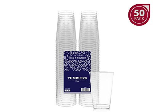 Clear Disposable Cups (Elite Selection 8 Oz. Pack Of 50 Clear Hard Disposable Party Plastic Tumblers/Cups)