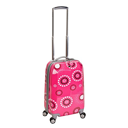Girls Hot Pink Black White Floral Dots Theme Carry On Luggage Hardtop Hardside Roller Wheel Set, Girls All Over Multi Flower Polka Dot Themed Suitcase Rolling Upright Spinner Wheels (White Luggage Polka Dot Rolling)