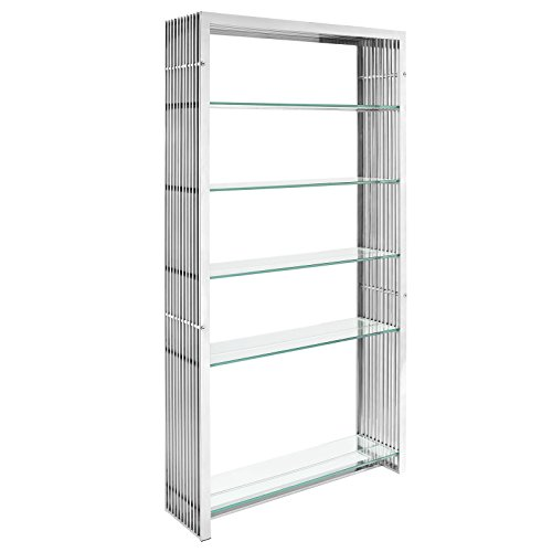 Modway Gridiron Stainless Steel Bookshelf in - Steel Bookcase Glass