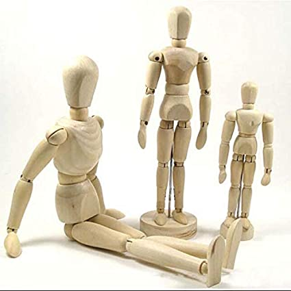 KMSG Wooden Drawing Human Figure Flexible Posable Bendable Mannequin Handicraft for Home Office Decoration Wood Carving Model Artist Figure Supply Wood Flexible Joints for Sketch 1 Piece 8 Inch