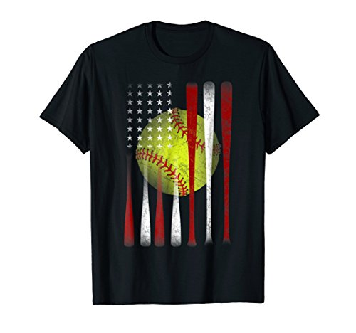 American Flag Vintage Softball Flag T-Shirt, Dad, Mom Gift