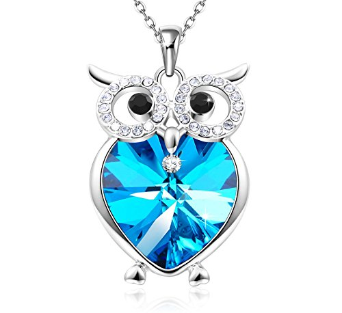 GEORGE · SMITH Mom Gifts Owl of Minerva Blue Heart Pendant Necklace with Swarovski Crystals Women Birthday Anniversary Jewelry for Wife Grandma