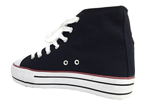 Soda Womens Krono Snörning Hög Topp Mode Sneakers Med Vit Gummisula I Svart Duk