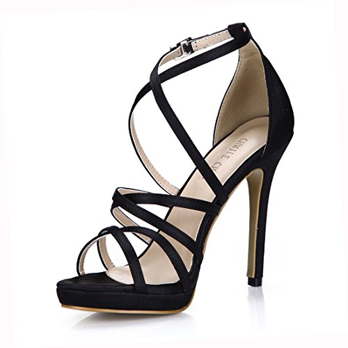 Sandalias de Nupcial Negro de CHMILE Plataforma Novia Tacon Mujer Correa Boda de Zapatos Vestido Tobillo de Chau satén Fiesta para Aguja Elegantes Alto 1cm 4w4OIUxqS