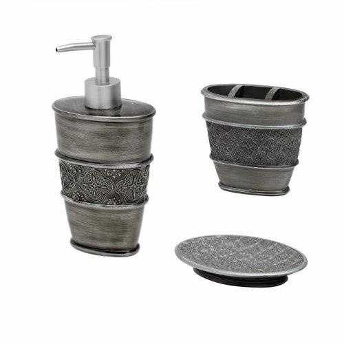 Zenna home india ink galahad 3 piece bath set antique for Bathroom accessories uae