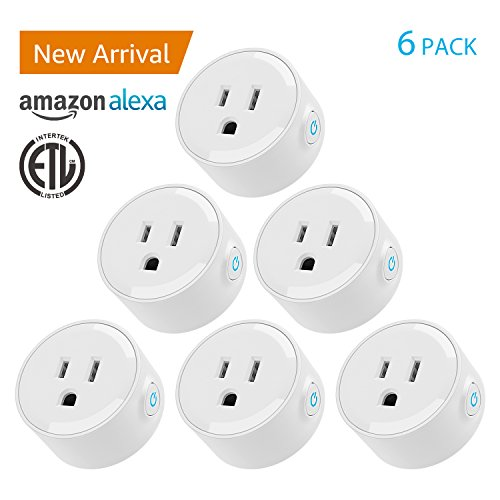 Wi-Fi Smart Plug, Mini Outlets Compatible with Alexa, Voice APP Remote Control Socket from Anywhere with Timer Function, No Hub Required, 6 Pack