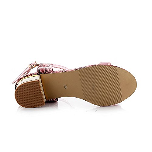 AllhqFashion Damen Niedriger Absatz Gemischte Farbe Weiches Material Schnalle Sandalen Pink