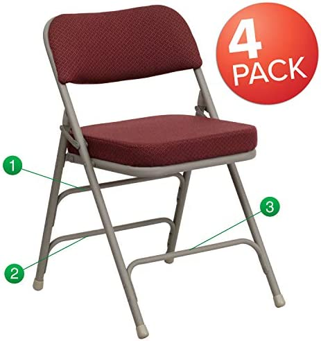 Flash Furniture 4 Pk. HERCULES Series Premium Curved Triple Braced Double Hinged Burgundy Fabric Metal Folding Chair