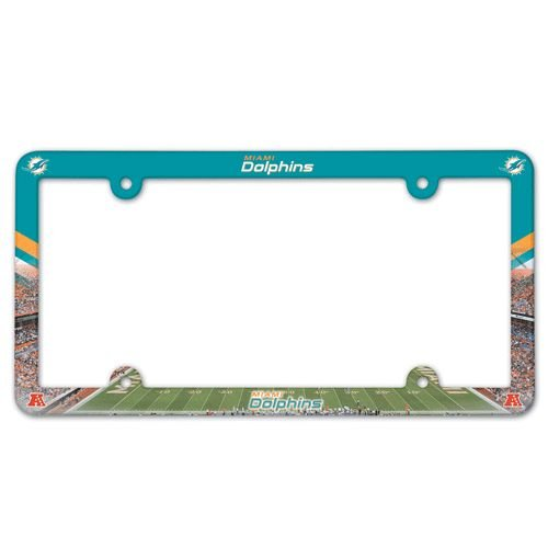 Dolphins Colors Miami (WinCraft NFL Miami Dolphins Full Color License Plate Frame, Team Color, One Size)
