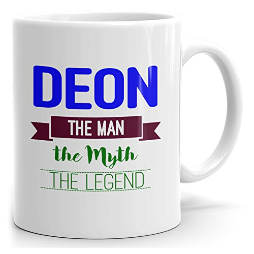 Deon on cup - The Man The Myth The Legend - Ceramic Cup for Coffee, Tea & Chocolate - 15oz White Mug - Blue 2