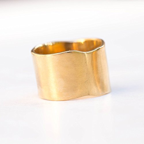 - Cigar Band Ring, Size 8, Yellow Gold, Extra-Wide Matte Finish