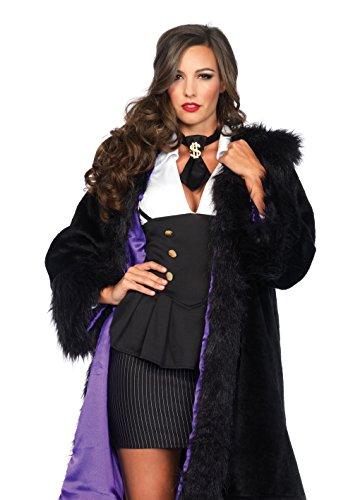 Leg Avenue Women's Faux Fur Coat Costume Accessory, Black/Purple, -