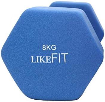 LIKEFIT Mancuerna Pesa Neopreno 8 Kg para Entrenamiento Gym 5