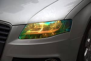 GOLDEN YELLOW 12 by 48 inches Self Adhesive Shiny Chameleon Headlights Films,Film Sheet Sticker,Tint Vinyl Film by ATMOMO