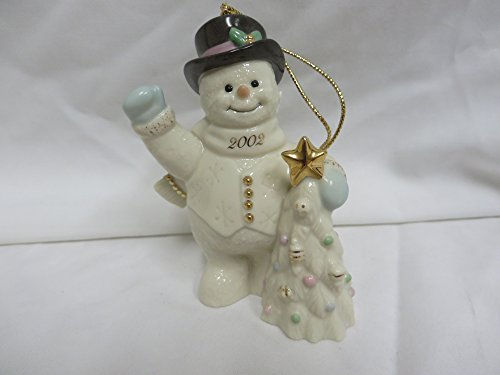 Lenox 2002 Holiday Greetings Snowman Ornament