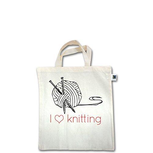 Statement Shirts - I love knitting - Unisize - Natural - XT500 - Fairtrade Henkeltasche / Jutebeutel mit kurzen Henkeln aus Bio-Baumwolle