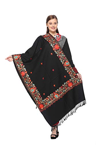 Kashmiri Embroidery Indian Shawl Stole Scarf Wrap for Wedding Parties Bridesmaid Prom (Black, 28 inch x 80 inch) by The MadhuSudan Gallery