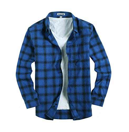 Mens Button Down Long-Sleeve Regular-Fit Plaid Flannel Casual Shirts(Small,Rayal Blue) ()