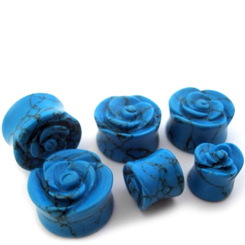 1 Pair of 2 Gauge STN054 Double Flared Turquoise Rose Bud Stone Plugs 2G - 6mm