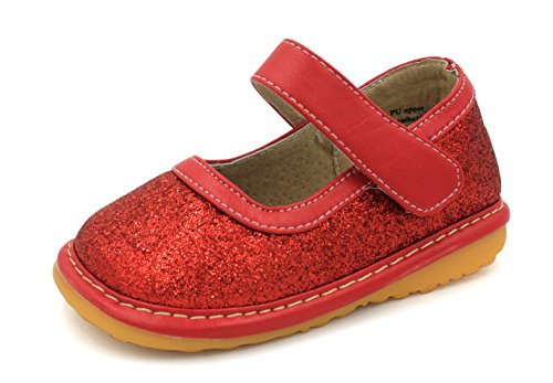 Squeaky Shoes |Red Sparkle Mary Jane Toddler Girl Shoes | Premium Quality (Removable Squeakers)(7) (Red Sparkle)