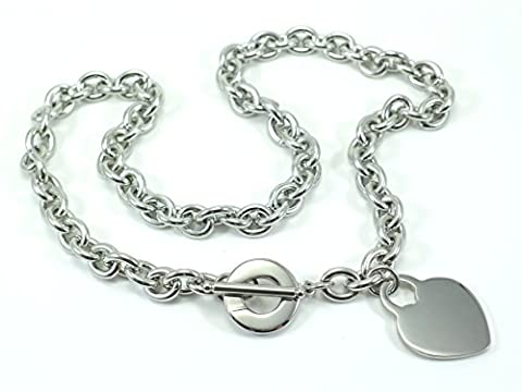 LADIES HEART TOGGLE TAG LINK NECKLACE CHAIN STAINLESS STEEL 316L (Heart Toggle Chain Necklace)