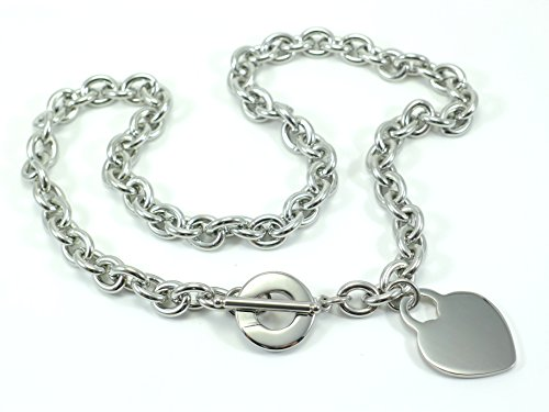 LADIES HEART TOGGLE TAG LINK NECKLACE CHAIN STAINLESS STEEL - Toggle Co Tiffany Necklace