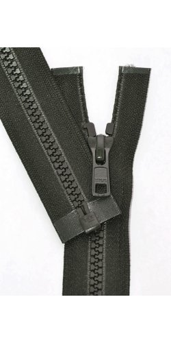Vislon Zipper, YKK #5 Molded Plastic Separating Bottom - Medium Weight (Select Color and Length) (077 Dark Olive, Length 18 inches)