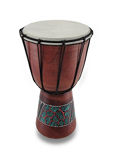Wood Djembes 53144 Djembe Aboriginal Polished Wood Drum 15 In. 7 X 15 X 7 Inches Red