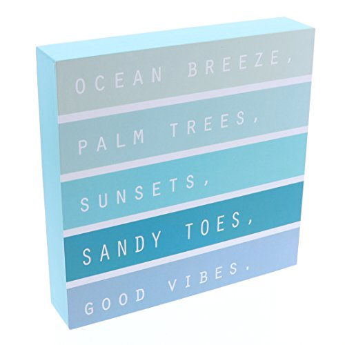 Barnyard Designs Ocean Breeze Palm Trees Sunsets Sandy Toes Good Vibes Box Sign, Modern Quote Beach Home Decor 8