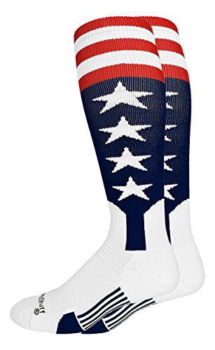 - MadSportsStuff USA Flag Baseball Stirrup Socks (Navy/Red/White, Large)