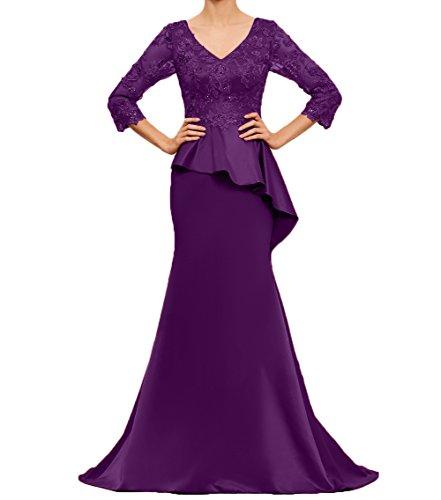Spitze Charmant Damen Brautmutterkleider Abendkleider Dunkel Lila Partykleider Abschlussballkleider Ballkleider Edel EHgPqxrH