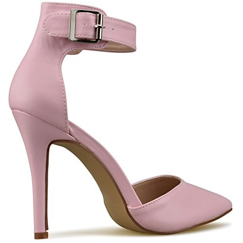 Heel High Strappy Pumps Toe Stilettos Pointed Pink Standard Sandals Premier Leather Pu Women's Studded WSCqw0Ya6Y