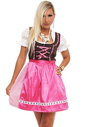 4211 Fashion4Young Damen Dirndl 3 tlg.Trachtenkleid Kleid Bluse Schürze Oktoberfest 4 Farben 4 Größen, Rose, 38