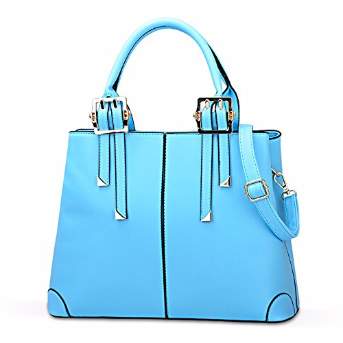 Bags Women's Body blue Soft Leather Shoulder Cross Shoulder Pockets Wristlet Casual Capacity Large Sky PU Vintage Shoulder Clutch with MSZYZ Small Many vqBzwB