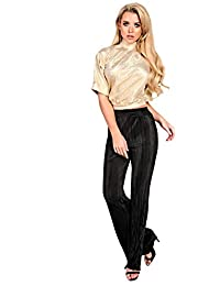 Women's Ladies Gorgeous Glam Foiled Backless High Neck Top