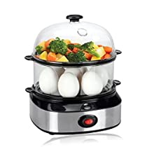 Egg Cooker, PowerDoF ZDQ-702A Multifunctional Dual Layer Electric Egg Cooker with 14 Egg Capacity, Auto Shut Off Feature
