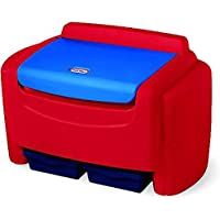 Sort N Store Toy Chest Bright Red Color Extra-large Capacity Six Cubic Feet Storage Two Removable Bins Detachable Lid Lightweight Plastic Material Clutter-free Organized Big Toys