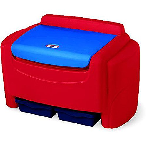 Sort' N Store Toy Chest Bright Red Color Extra-large Capacity Six Cubic Feet Storage Two Removable Bins Detachable Lid Lightweight Plastic Material Clutter-free Organized Big (Big Trunk)