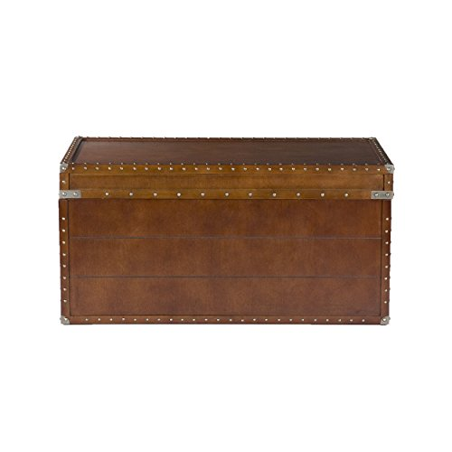 Southern Enterprises Steamer Storage Trunk Cocktail Table, Walnut - Cocktail Trunk Table